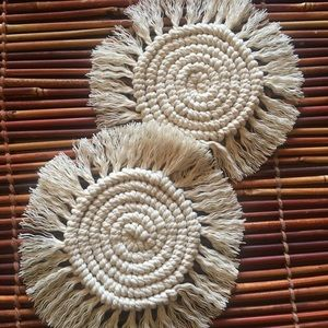 Natural White Macrame Coasters